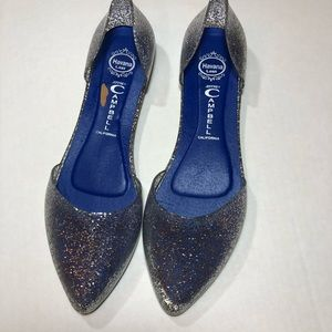 Jeffrey Campbell's silver glitter pointed toe jell